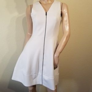 Vince Camuto 2 White Zip Front Dress Fit & Flare